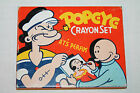 Vintage Popeye Crayon Set with 7 Crayons Tin Litho Hinged Container No. 1436
