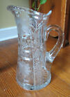 BEAUTIFUL CUT GLASS CRYSTAL PITCHER with FLOWERS  GEOMETRIC PATTERNS