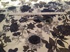 12 Yards Fabric Bloomcraft Screen Print Black Cream Floral Stain Repeller