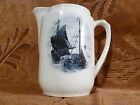 Nautical Vintage Small Pitcher Ships Gold Trim Made in Germany