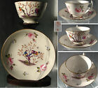 ANTIQUE STEVENSON & HANCOCK & SAMSON (DERBY) HAND PAINTED CUP AND SAUCER , BIRDS
