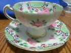 VINTAGE TEACUP & 5 1/2 inch Saucer PINK ROSES, & GOLD TRIM Hand-painted pretty!