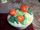 vintage Strawberry fruit ceramic bowl with lid made in Italy 7009 #73 great c