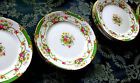 Set  12 vintage dinner plates Shelley Dubarry green rimmed rose pattern 10 1/4