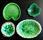 Lot 4 Antique Majolica small butter dish green leaf plate s