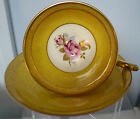 STUNNING,VINTAGE AYNSLEY CUP AND SAUCER YELLOW ENGLAND ROSES, RARE