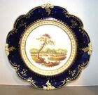Antique European Plate Hand Painted Scenic Landscape w/ Cobalt Blue Border