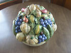 Handmade & Painted Ceramic Art Potery Assorted Fruit in Bowl Italy