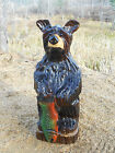 Hand Carved Black Bear Cub & Fish Chainsaw Carving Wood Sculpture Rustic Decor