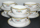 Pretty Set of Six Vintage Noritake Camilla Cup and Saucer Sets White Floral Gold