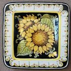 Deruta pottery Square plate 10and1/4Inch Sunflower,Made/painted by hand in Italy