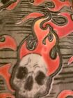 Flaming Skull Fleece Fabric Sewing Material Approx 60