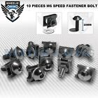 M6 6MM FAIRING SPEED FASTENER BOLTS ALUMINUM SPIRE CLIPS SPRING NUTS X 10 BLACK