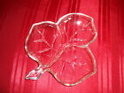 Vintage 1950's Clear Glass 3 section MAPLE LEAF DISH  8 x 7