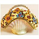 BEJEWELED RHINESTONE CRYSTAL ENAMEL TRINKET BOX - FLOWER BASKET STATUE