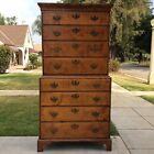 1700s TIGER MAPLE Chippendale Chest on Chest Early American highboy dresser