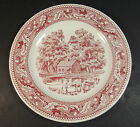 Memory Lane Royal Ironstone Red 10 Inch Plate Made in the USA Farmer w/ Dog Cows