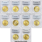 Lot of 10 $20 Saint Gaudens PCGS MS65 Random Year Gold Double Eagle Gem coins