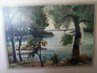 Vintage Original Watercolor, Electra Malone, Texas Lake Scene, c1970-80's, Frame