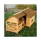 Barn Dog House Puppy Wood Outdoor Pet Kennel Insulated Shelter Porch Roof Large