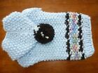 BRAND NEW DOG SWEATER WITH HOODIE HAND KNIT LT BLUE SZXS chihuahua yorkie