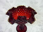 FENTON DARK RUBY RED HOBNAIL Small RUFFLED edge with yellow COMPOTE * nice *