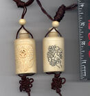 Two Fish Hand Carved  Natural Bone Pendant Necklace Snuff Bottle