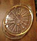 Vintage Glass Feather Design Divided Relish Tray  5 Compartments Gold Trim Oval