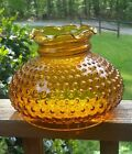 Vintage Hurricane Amber Glass Hobnail Lamp Shade Replacement 6 3 4 Fitter