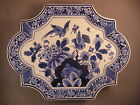 Antique wall plate Delft blue Netherland bird and flower rare  -- free shipping