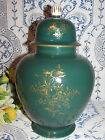 EMERALD GREEN GINGER JAR WITH LID HANDPAINTED  GOLD TRIM ACCENT CZECH REPUBLIC