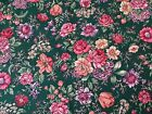 Floral Calico Print by Sharon Kessler for Concord Flowers on Dark Green