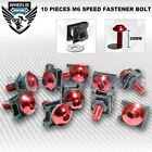 M6 6MM FAIRING SPEED FASTENER BOLTS ALUMINUM SPIRE CLIPS SPRING NUTS X 10 RED