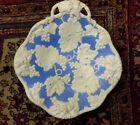 T.J.& J. Mayers Dale Hall Pottery Blue & White Embossed Handled Dessert Plate NM