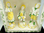Vintage Italy Ceramic Large Lattice Top Gazebo 3 Figurines Boys Girl Wall Mounts