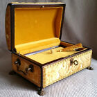 Reuge Switzerland Music Box Chest Wood Velours Brass Lion Paw Tchaikovsky 4 Tune