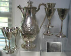 STUNNIING,WILCOX EMBOSSED LADY MARY SET WATER TEA POT & 6 GOBLETS,RARE SILVER PL
