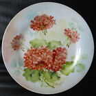 STUNNING, VINTAGE HAND PAINTED ARTIST SIGNED CABINET PLATE GERANIUM 9