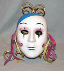 Gothic Ceramic Mask With Tear Drop Clay Art Wall Hanging Hand Painted