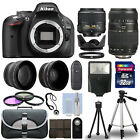 Nikon D5200 Digital SLR Camera + 4 Lens Kit 18 55mm + 70 300mm+ 32GB Accessories