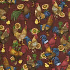 RED ROOSTER FABRIC MATERIAL, Roosters all over red material From RJR Fabrics NEW