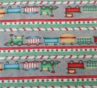 Holiday Express RL Studio for South Sea Imports SSI BTY Toy Train Stripe on Gray