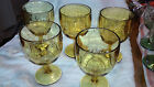 Bartlett Collins Wine/ Water Goblets Dot/ Thumbprint Set of 5 Amber