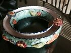 Vintage Majolica Flower Frog Round Centerpiece Signed and Numbered