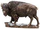 American Buffalo Bison in Snow Statue Sculpture Figurine