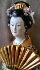 SATSUMA Geisha Porcelain Large Figurine Statue Sculpture Gold Painted Figure Fan