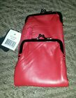 NWT Genuine Lambskin Patch Leather Red 120's Cigarette Snap & Zip Case