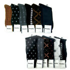 6 Pairs Mens Dress Socks Multi Color Print Casual Work Size 10 13 Fashion Crew