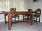 Vintage English Tudor style Dining Room  set Table, 6 chairs & sideboard 1920's