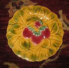 Majolica Fruit Plate with STRAWBERRIES PV France, superb, vintage 7 1/2